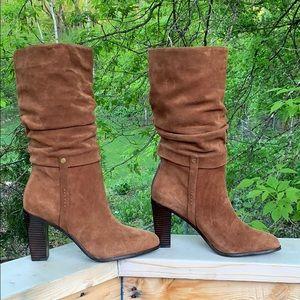 Donald J Pliner suedes brn Odessa 11M calf hi boot